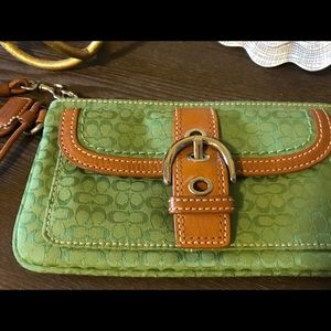 NWOT Coach Wristlet with Leather Trim